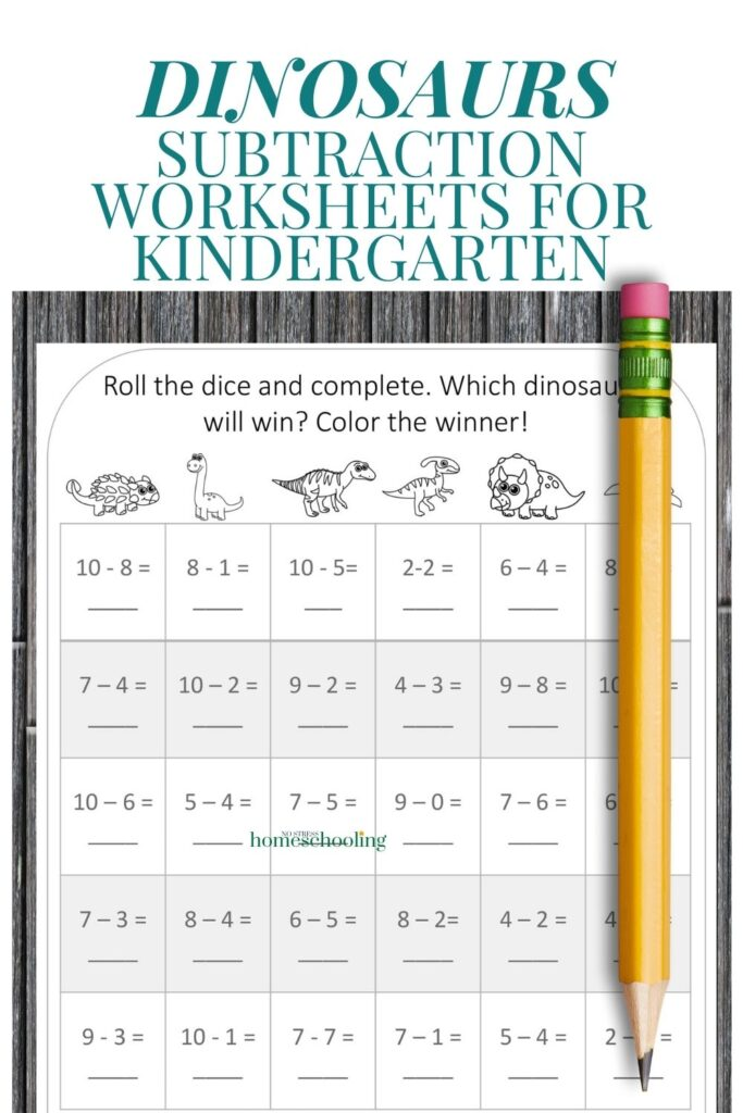 picture of dinosaur subtraction worksheets for kindergarten on wooden backdrop with pencil