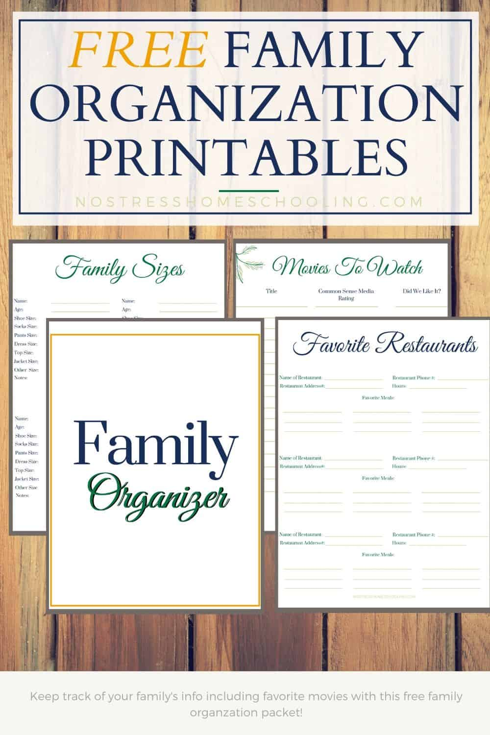 pic of family organization printables to include in home management binder