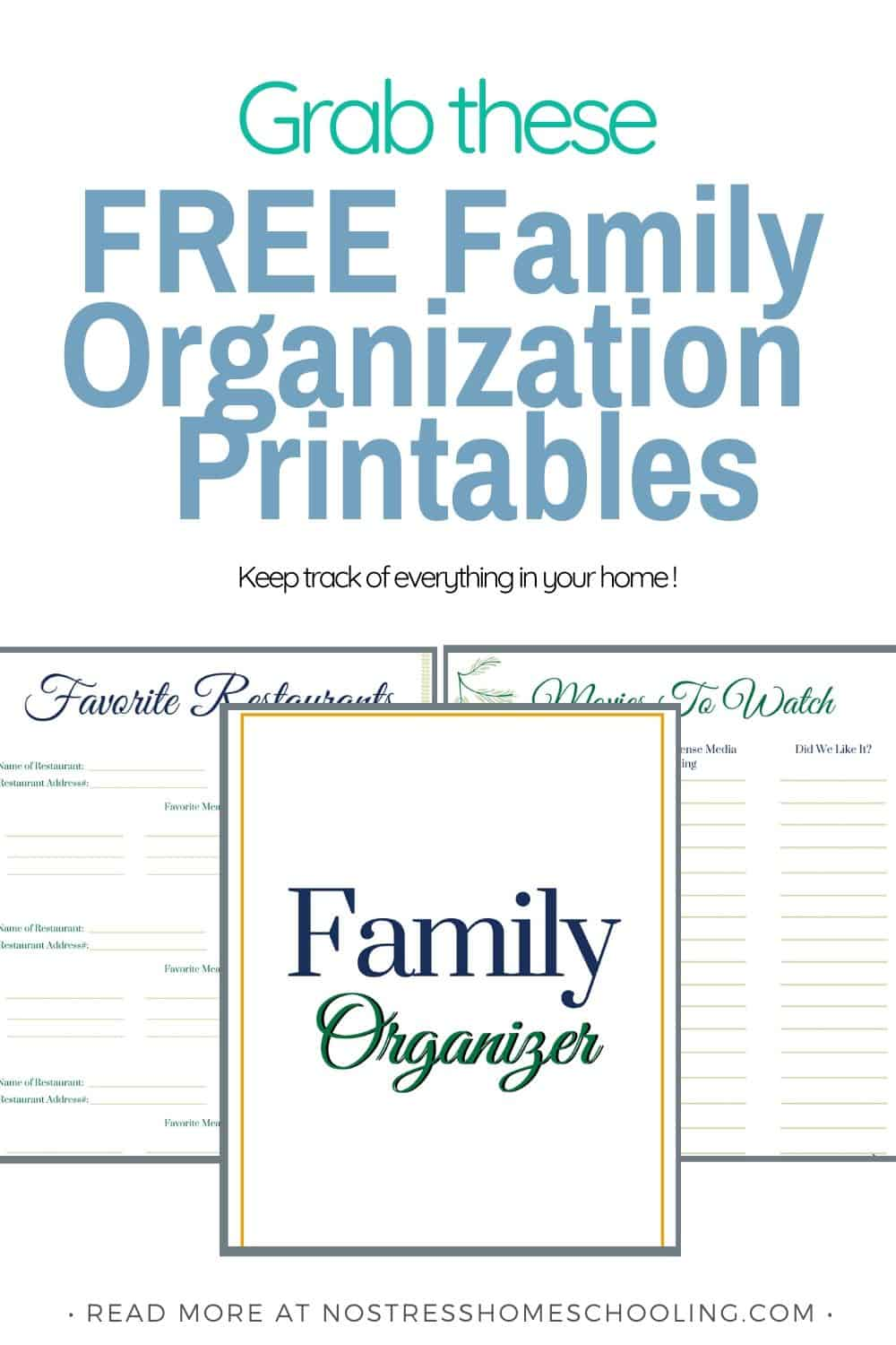 Its time to update your home management binder with these family organization printables. Keep track of fav restaurants, fav. movies & more.