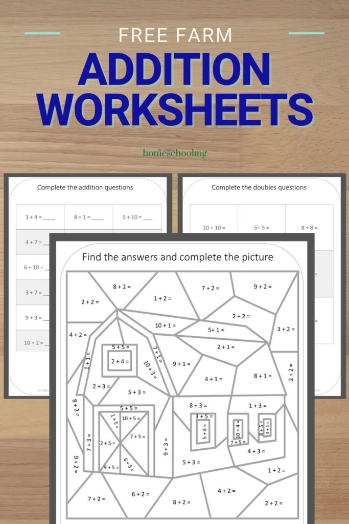 image of free farm addition worksheets printable on desk