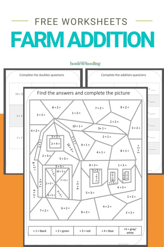 image of free farm addition worksheets printable on orange background