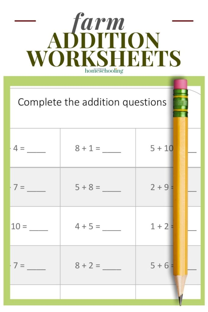image of free farm addition worksheets printable on green background