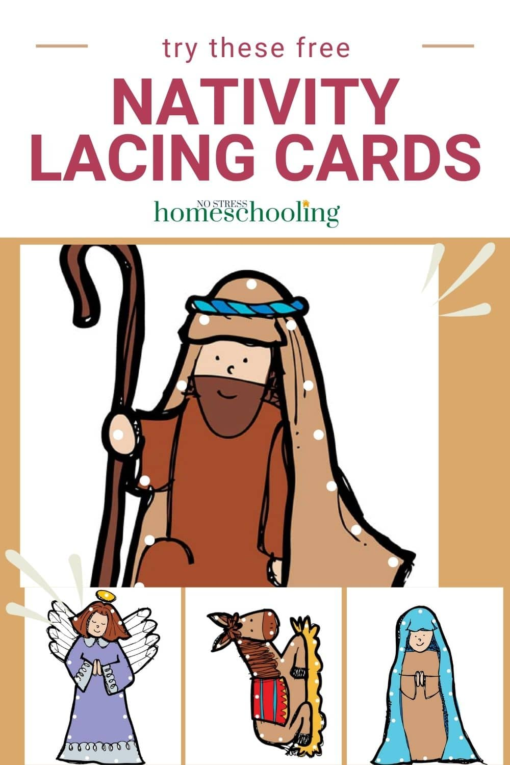 free nativity lacing cards
