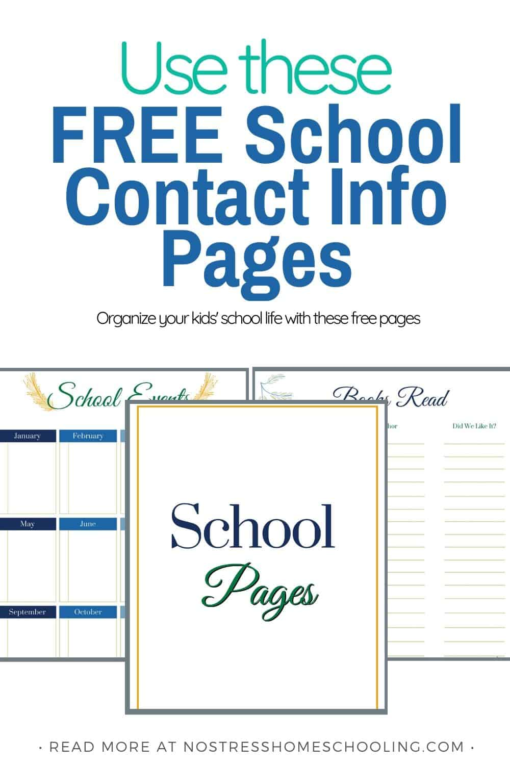 It's time to organize your kids school life with this free school contact information template. There's also a few homeschool pages to help as well.