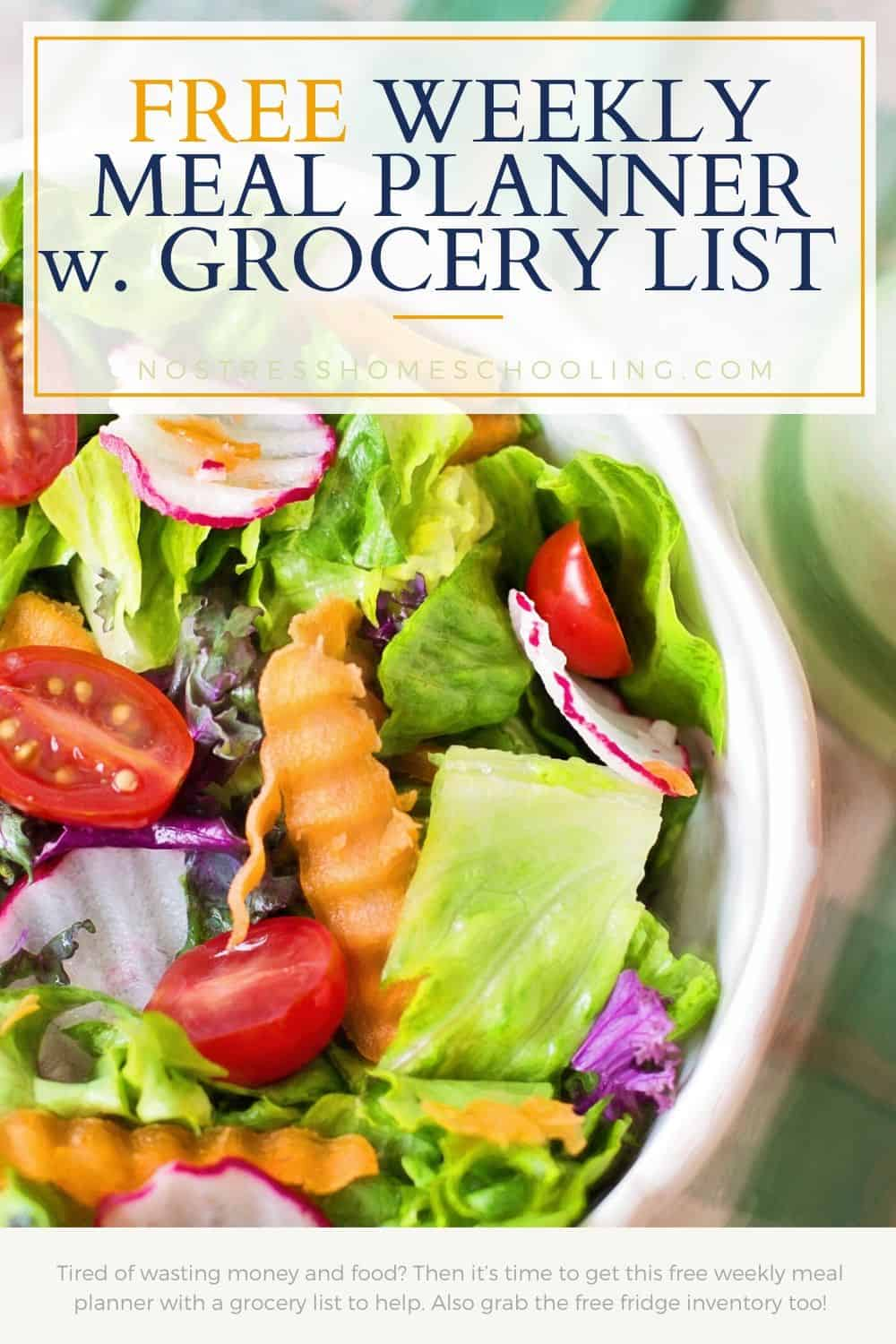 Tired of wasting money and food? Then it's time to get this free weekly meal planner with a grocery list to help. Also grab the free fridge inventory too!