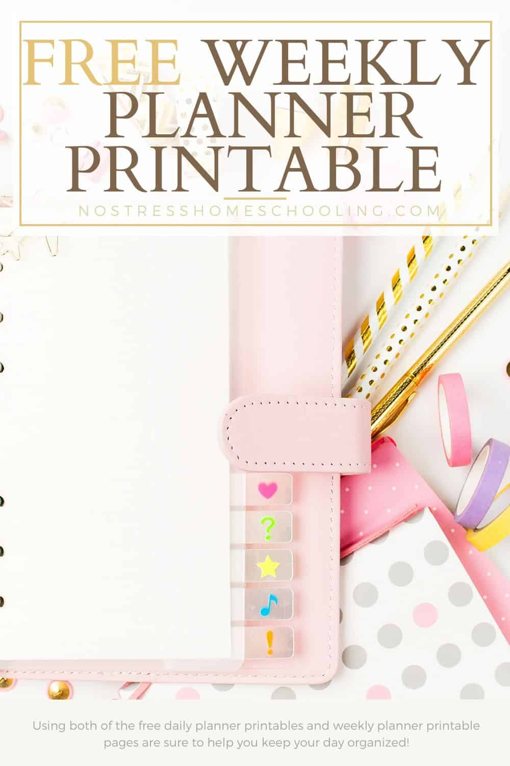 Using both of the free daily planner printables and weekly planner printable pages are sure to help you keep your day organized!