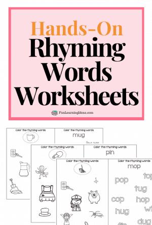 Hands-On Rhyming Words Worksheets