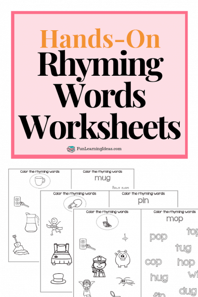 Looking for a few free rhyming words activities? These hands-on rhyming words worksheets are a perfect way to help your kids work on their rhyming. #rhymingwordsworksheets #freerhymingwordsprintableworksheets #rhymingwordsactivities