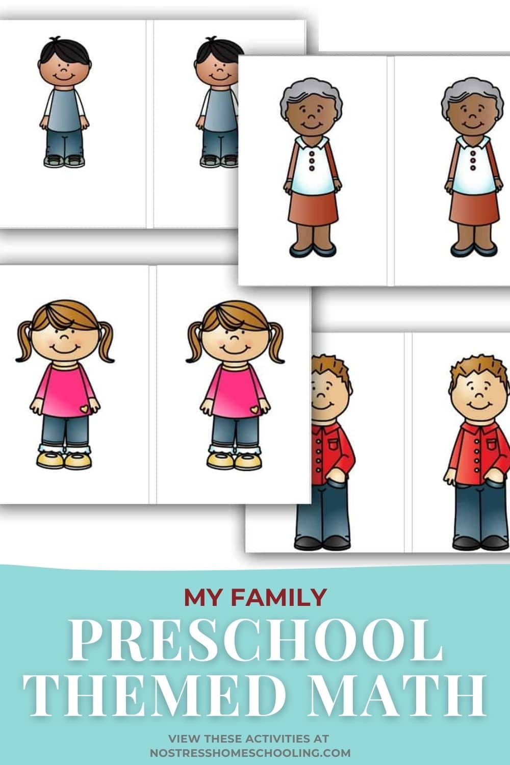 pic of my family preschool math activity -matching cards
