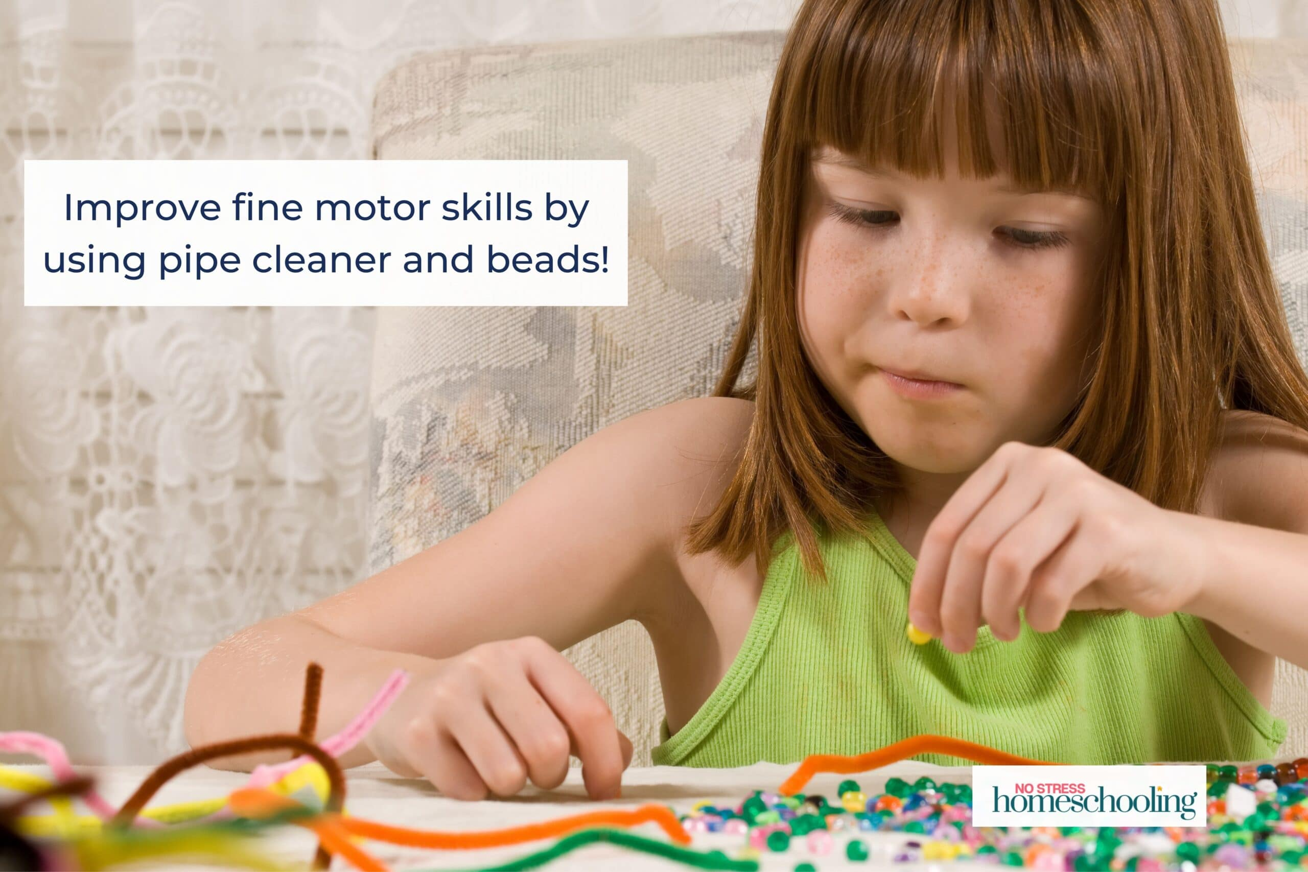 Pencil grasp activities: pipe cleaner and beads image