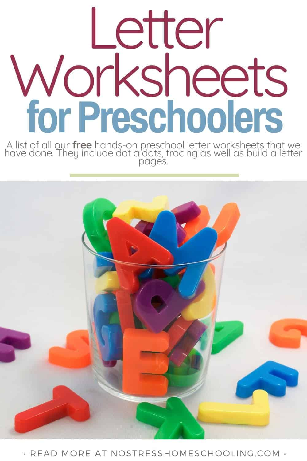 A list of all our free hands-on preschool letter worksheets that we have done. They include dot a dots, tracing as well as build a letter pages.