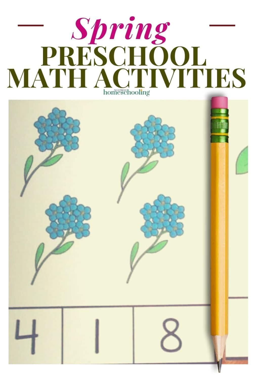 spring preschool math activities image