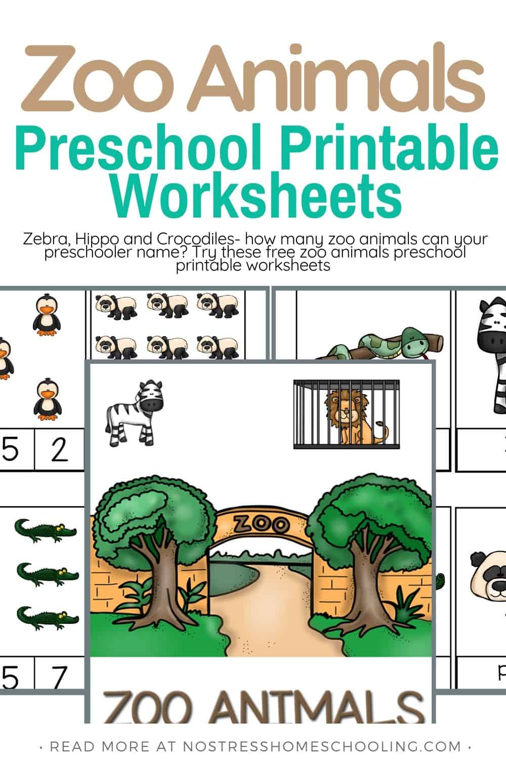 PICTURE SHOWING ZOO ANIMALS PRESCHOOL PRINTABLE WORKSHEETS